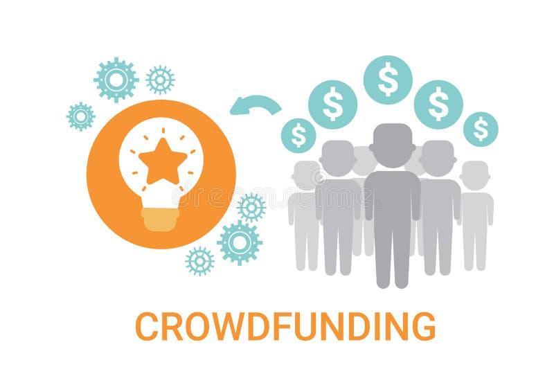 Icône d'investissement de sponsor d'idée de ressources d'affaires de Crowdfunding Crowdsourcing illustration libre de droits