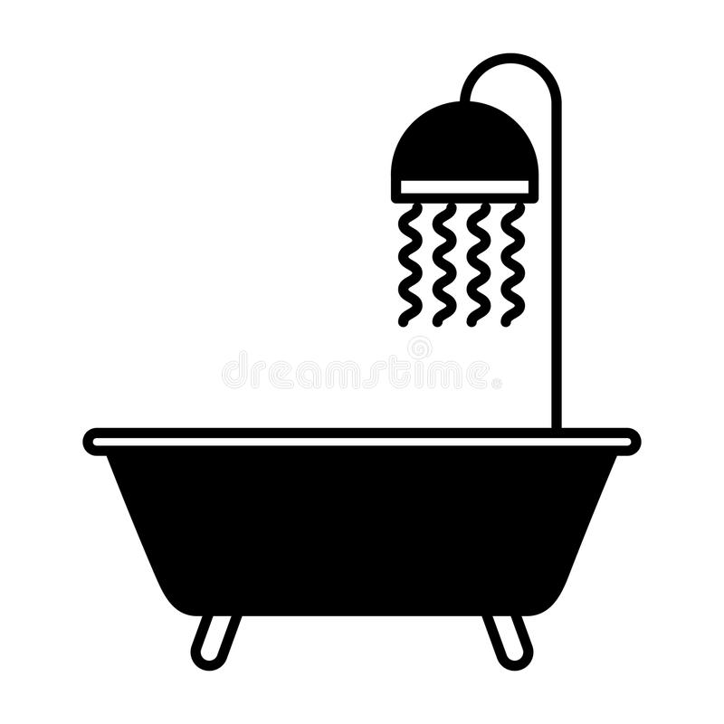 Icône d'isolement de robinet de baignoire illustration stock