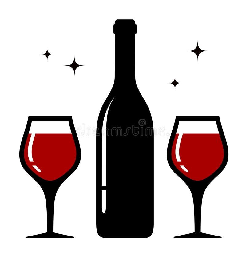 Icône D'isolement En Verre De Bouteille Et De Vin