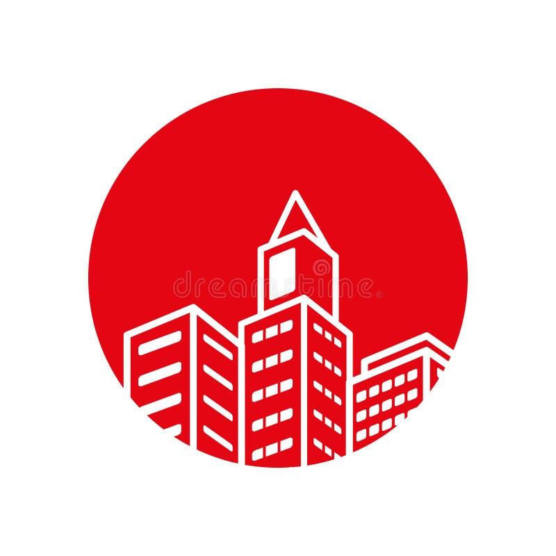 Icône d'isolement par bâtiment d'immobiliers illustration stock