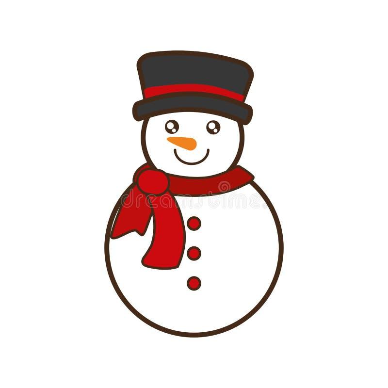 Icône d'isolement par caractère de Noël de bonhomme de neige illustration stock