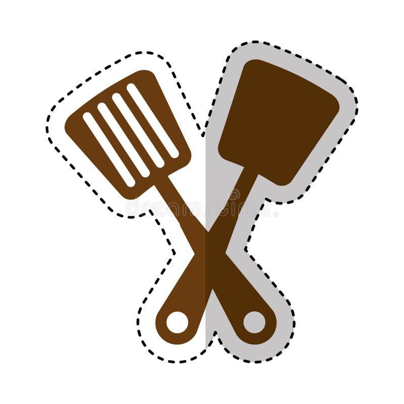 Icône d'isolement par couverts de cuisine de spatule illustration stock