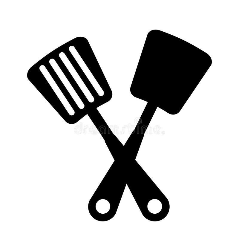 Icône d'isolement par couverts de cuisine de spatule illustration de vecteur