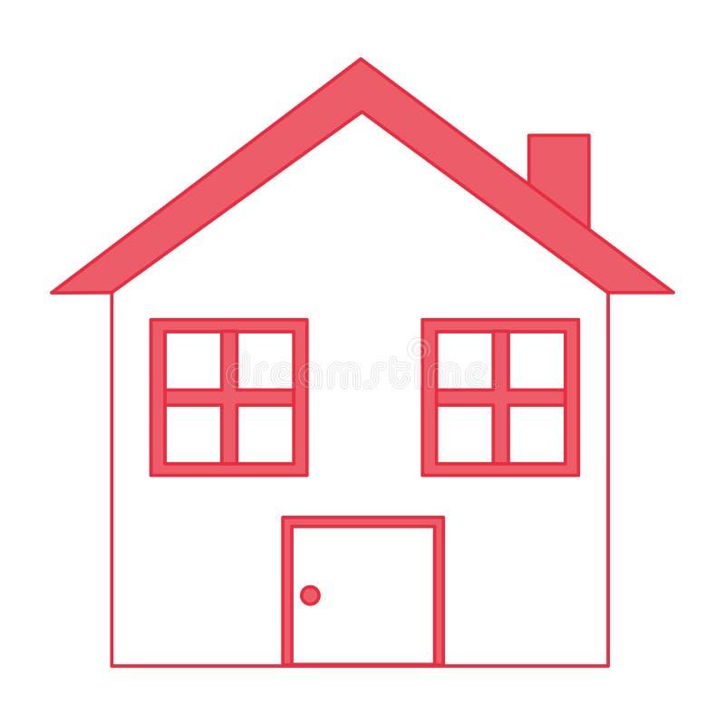 Icône d'isolement par maison à la maison illustration stock