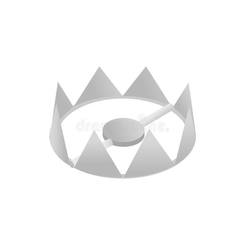 Icône 3d isométrique de piège pointu en métal illustration libre de droits