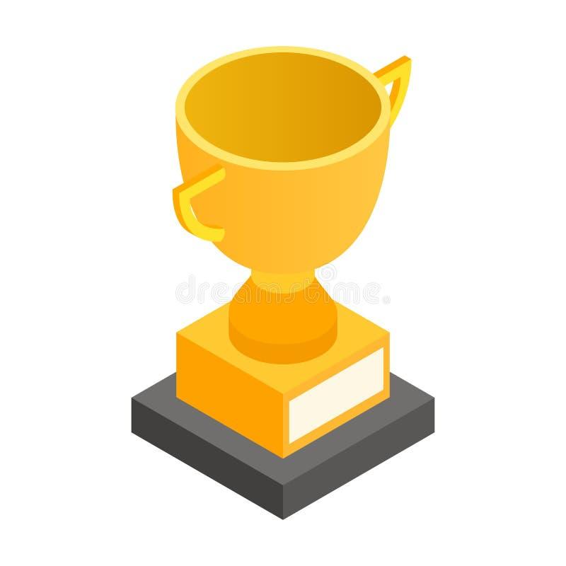 Icône 3d isométrique de tasse d'or de trophée illustration libre de droits