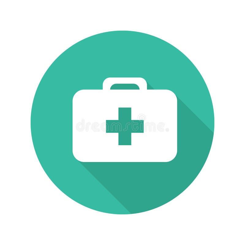 Icône d'ombre de conception plate de kit de premiers secours longue illustration stock