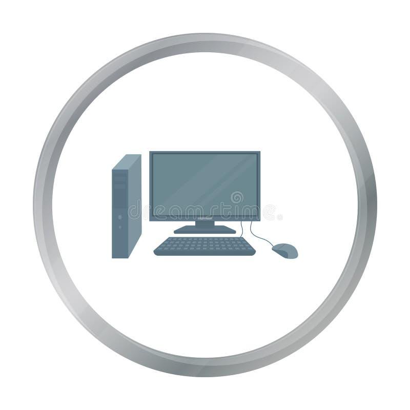 Icône d'ordinateur personnel dans le style de bande dessinée d'isolement sur le fond blanc Meubles de bureau et vecteur intérieur illustration libre de droits