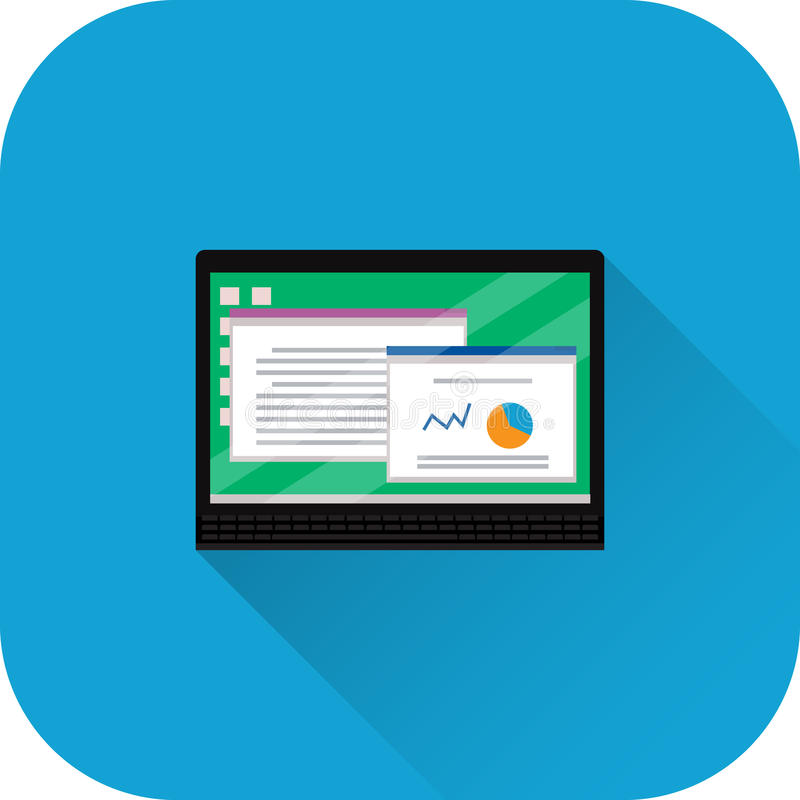 Icône d'ordinateur portable Vecteur Conception plate avec la longue ombre illustration de vecteur