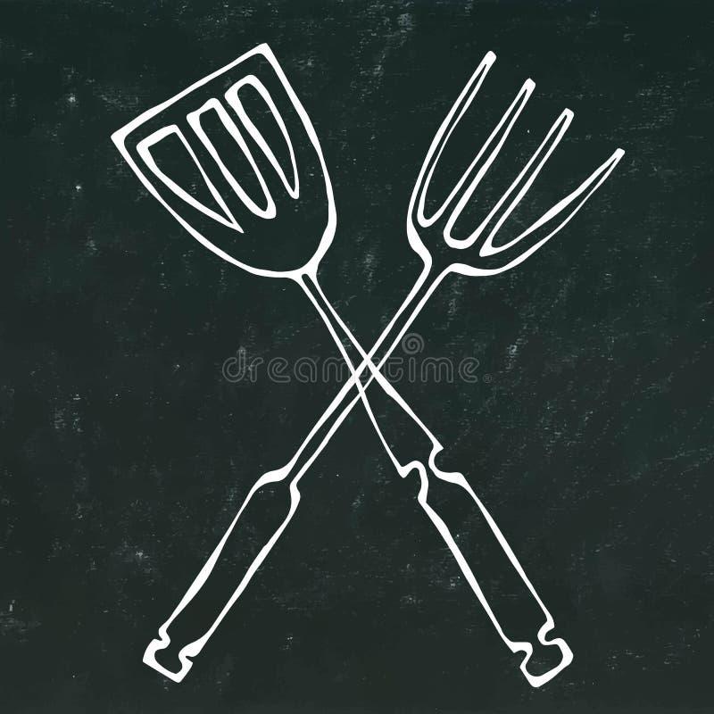 Icône d'outils de BBQ ou de gril Fourchette croisée de barbecue avec la spatule D'isolement sur un fond noir de tableau Griffonna illustration libre de droits