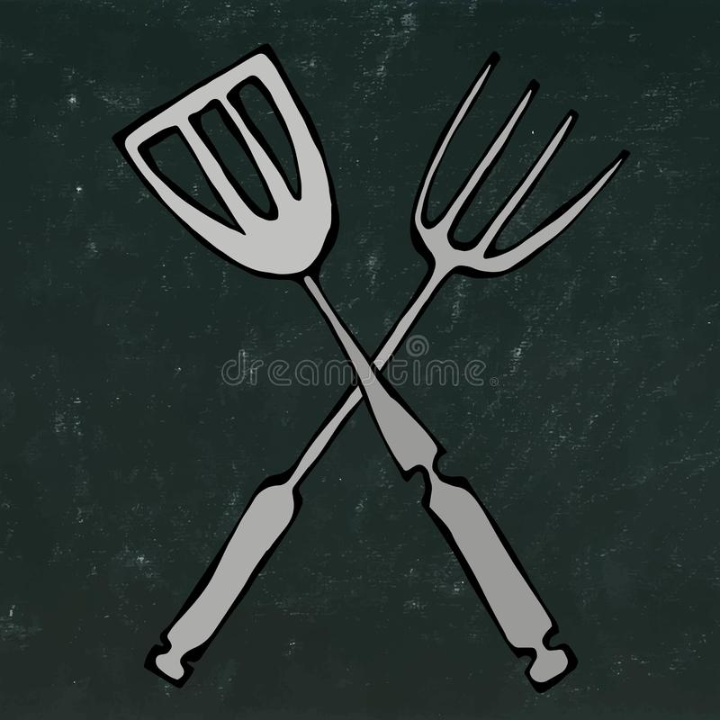 Icône d'outils de BBQ ou de gril Fourchette croisée de barbecue avec la spatule D'isolement sur un fond noir de tableau Griffonna illustration stock