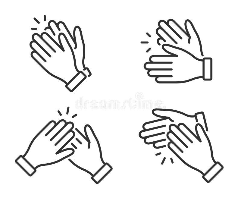 Ic?ne de applaudissement de mains Applaudissements d'applaudissements Symbole dans le style d'ensemble Vecteur illustration stock