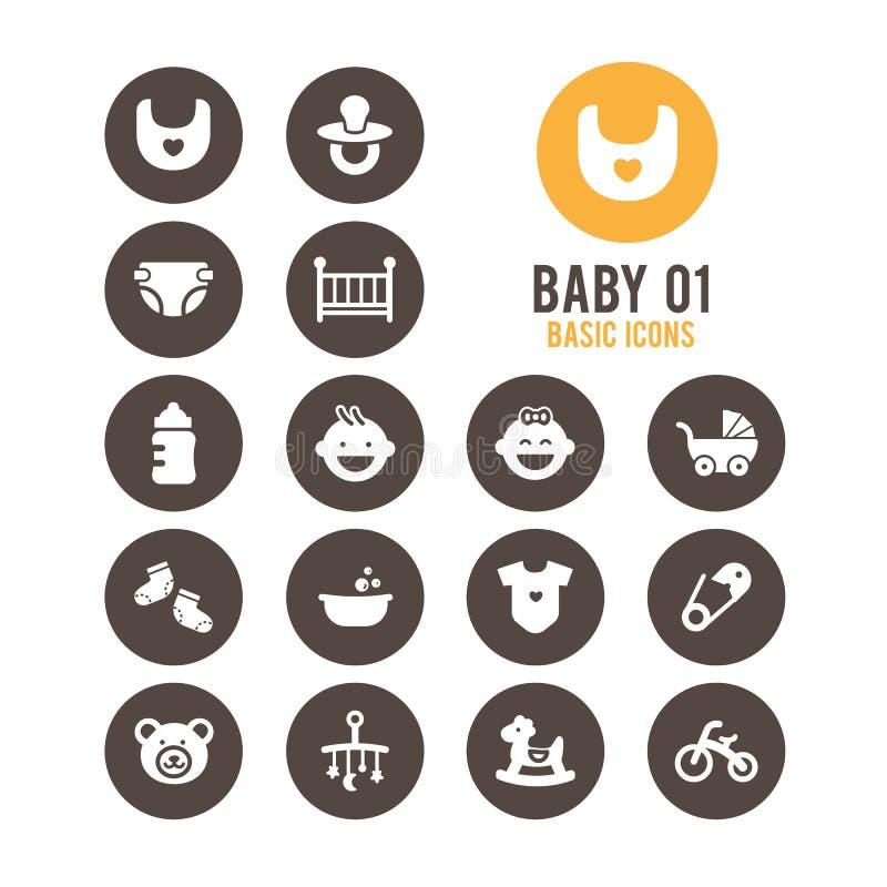 Icône de bébé Chéri mignonne Illustration de vecteur photographie stock