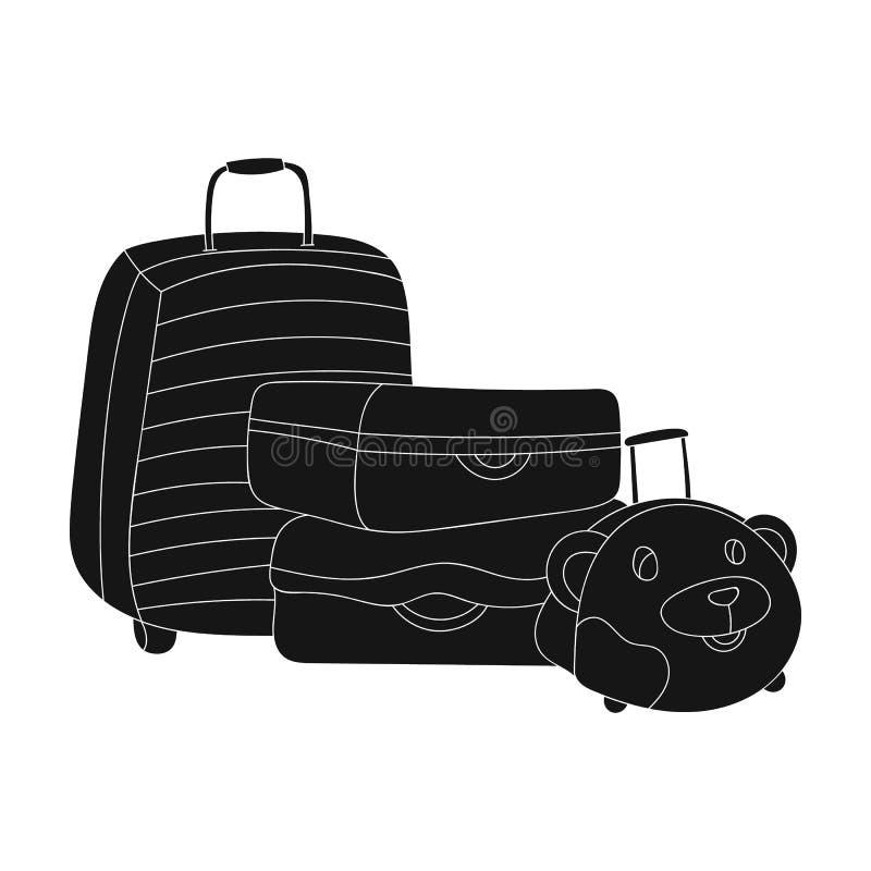 Icône de bagage dans le style noir d'isolement sur le fond blanc Illustration de vecteur d'actions de symbole de vacances de fami illustration de vecteur