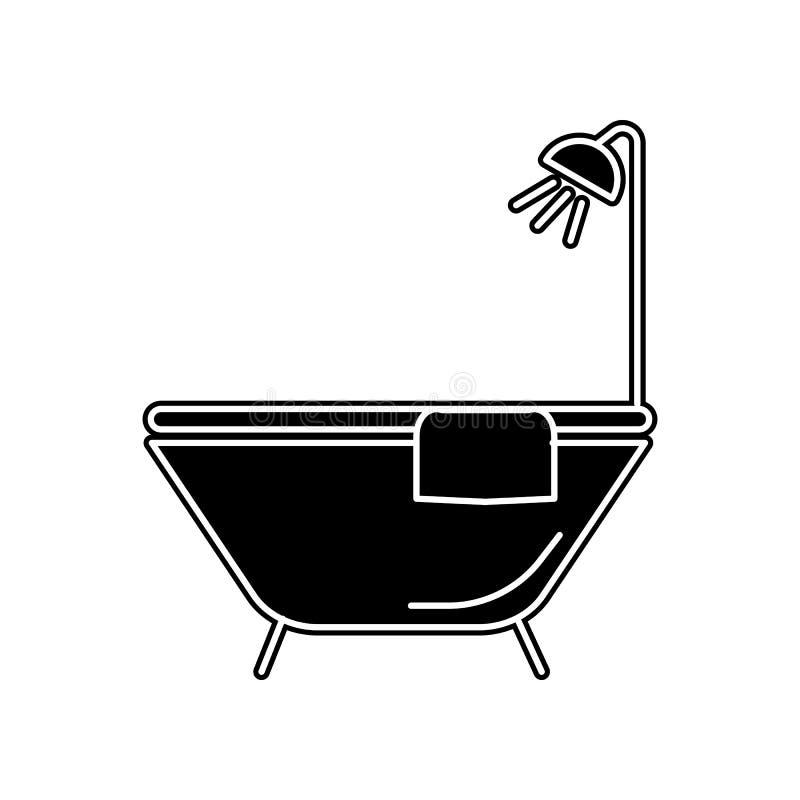Ic?ne de baignoire E Glyph, ic?ne plate pour la conception de site Web et d?veloppement, appli illustration libre de droits