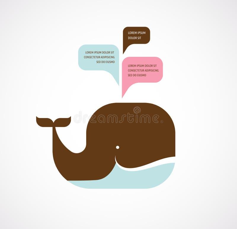 Icône de baleine avec des bulles de la parole illustration stock