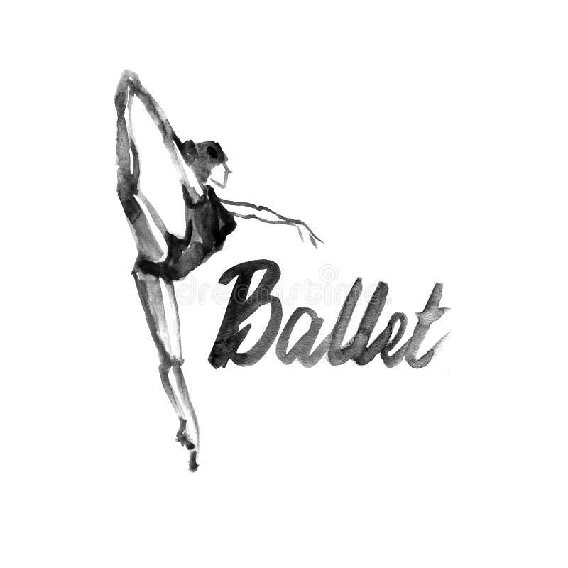 Icône de ballerine d'illustration d'aquarelle dans la danse École de ballet d'affiche de conception, studio illustration stock