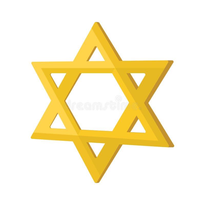 Icône de bande dessinée d'étoile de juif d'or illustration stock
