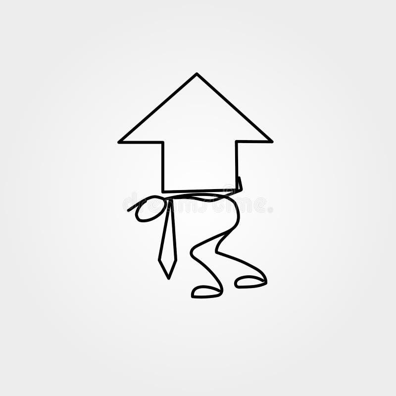 Icône de bande dessinée de chiffre de bâton d'homme d'affaires de croquis avec la grande flèche de diagramme illustration stock