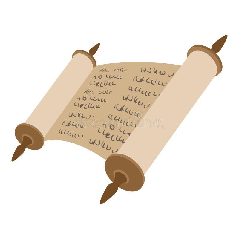 Icône de bande dessinée de rouleau de Torah illustration de vecteur