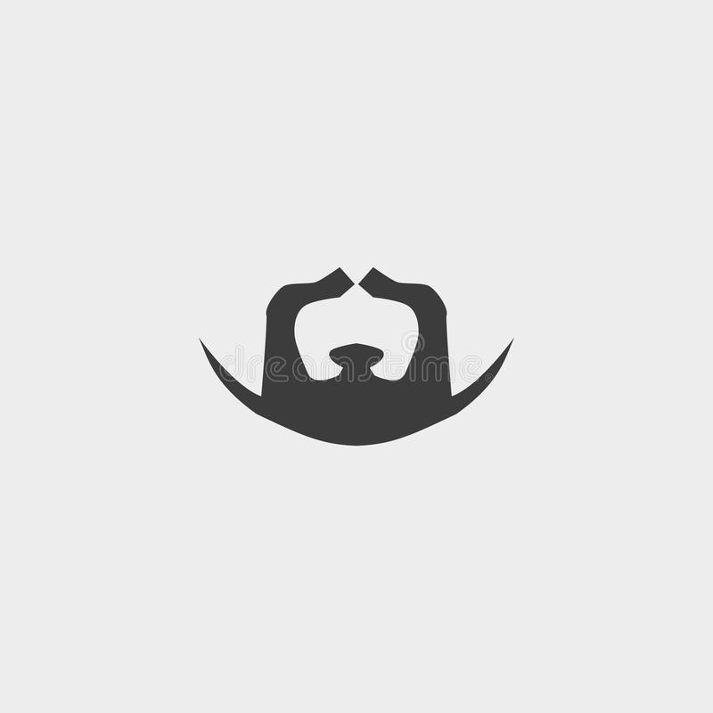 Icône de barbe et de moustache dans une conception plate dans la couleur noire Illustration EPS10 de vecteur illustration stock