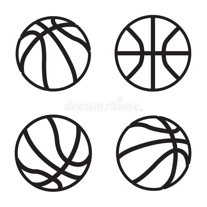 Icône de basket-ball dans quatre variations Vecteur ENV 10 illustration stock