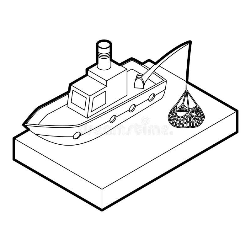Icône de bateau de pêche, style d'ensemble illustration stock
