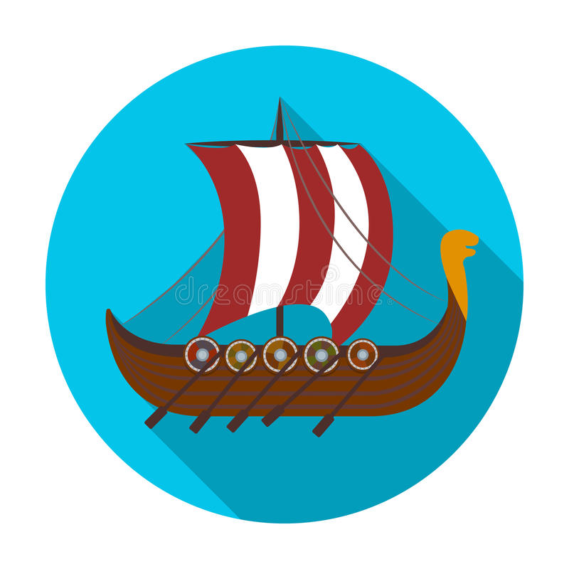 Icône de bateau de Viking s dans le style plat d'isolement sur le fond blanc Illustration de vecteur d'actions de symbole de Viki illustration stock