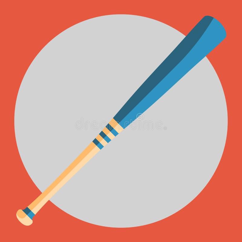 Icône de batte de baseball Batte de baseball colorée sur un fond rouge le ski d'illustration de matériel de coloration folâtre l' illustration de vecteur