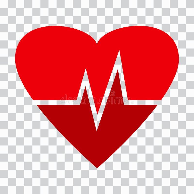 Ic?ne de battement de coeur Coeur rouge avec l'impulsion battue Symbole m?dical Illustration de vecteur illustration libre de droits