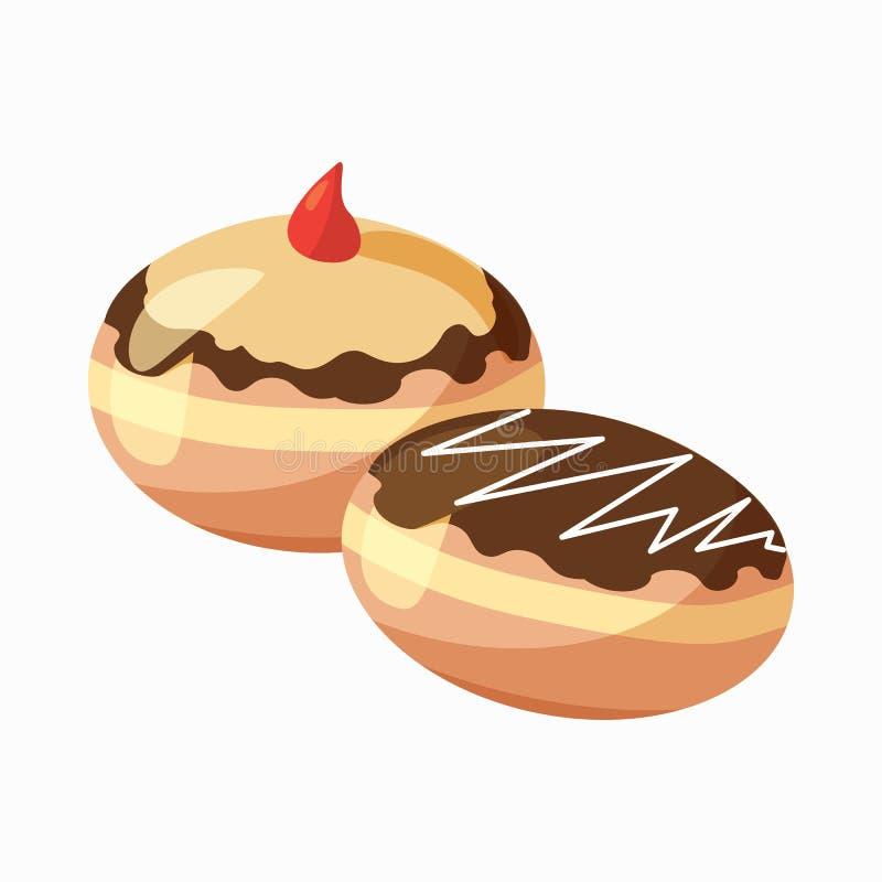 Icône de beignet de Hanoucca, style de bande dessinée illustration libre de droits