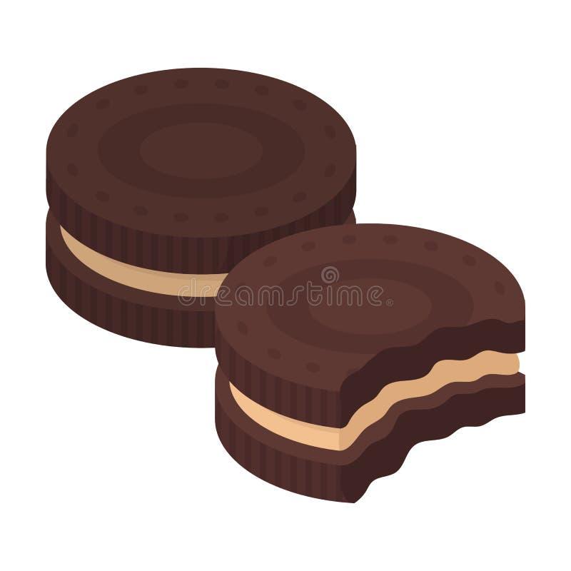 Icône de biscuits de sandwich à chocolat dans le style de bande dessinée d'isolement sur le fond blanc Vecteur d'actions de symbo illustration de vecteur