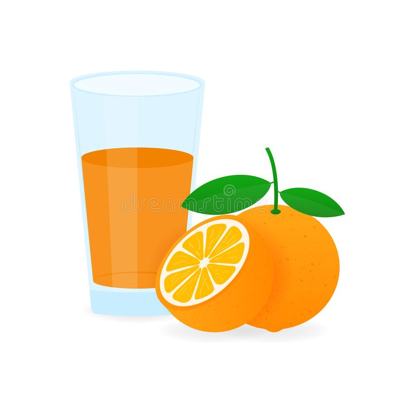 Ic?ne de boisson avec le fruit Jus d'orange sur le fond blanc Illustration courante de vecteur illustration libre de droits