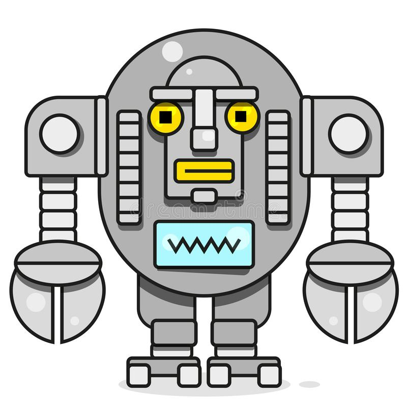 Ic?ne de Bot Concept d'ic?ne de Chatbot Robot de sourire mignon Ligne moderne illustration de vecteur de caract?re d'isolement su illustration libre de droits