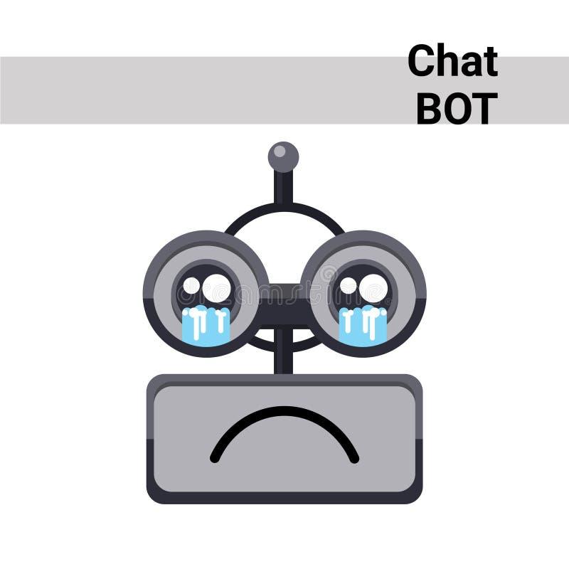 Icône de Bot de causerie d'émotion de cri de visage de robot de bande dessinée illustration stock
