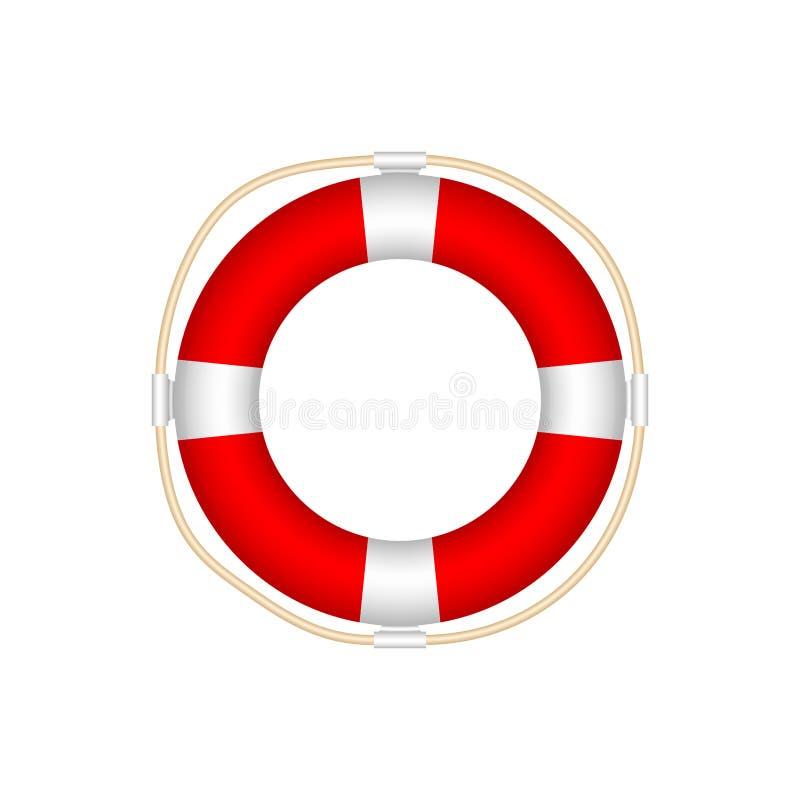 Icône de bouée de sauvetage d'isolement sur le fond blanc Style réaliste illustration stock