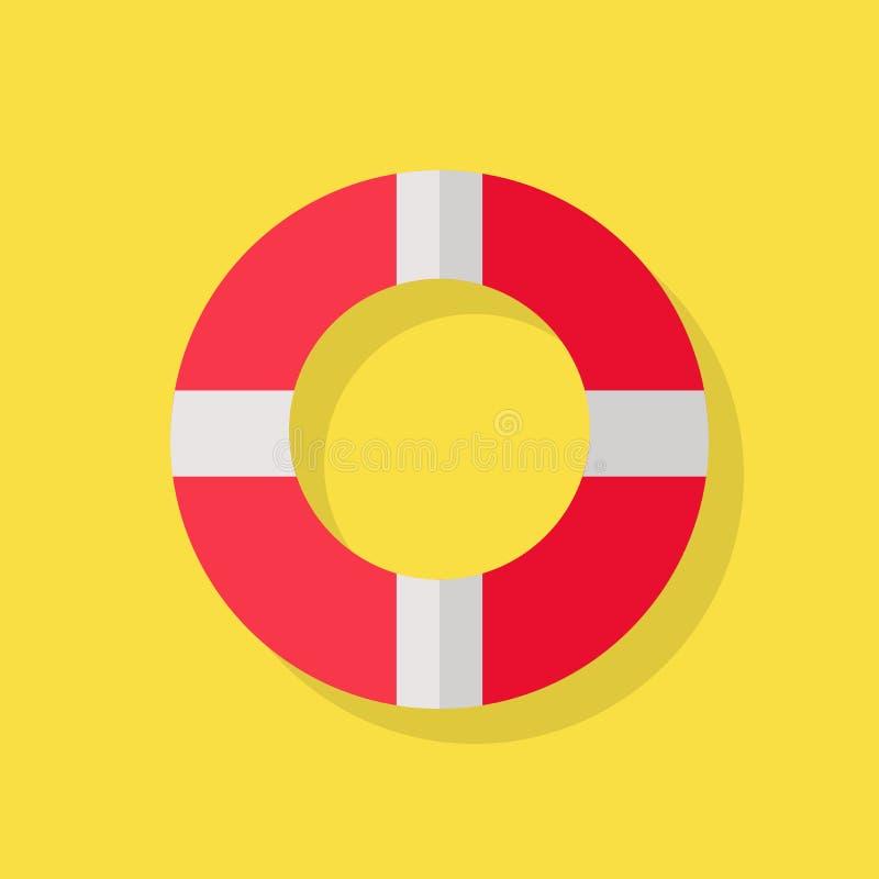 Icône de bouée de sauvetage sur le jaune illustration de vecteur