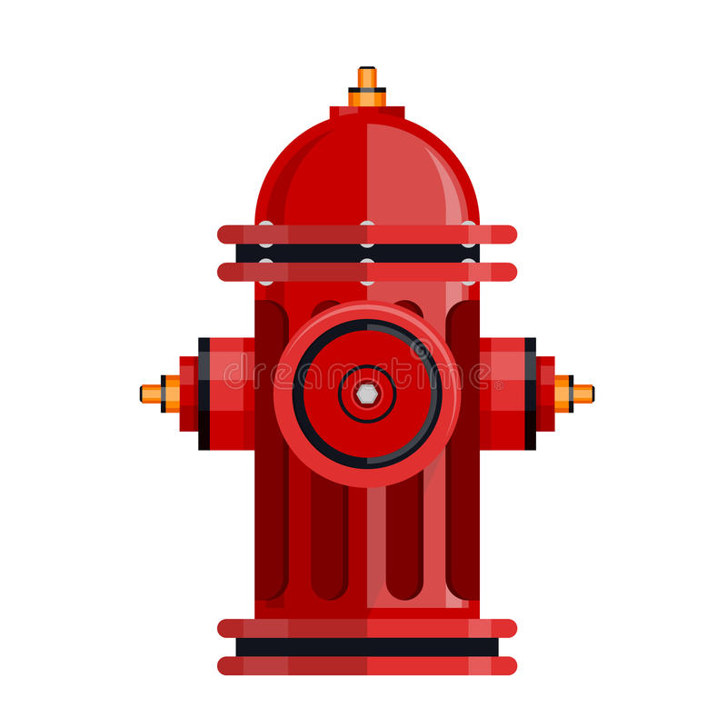Icône de bouche d'incendie rouge d'isolement sur le vecteur blanc illustration libre de droits