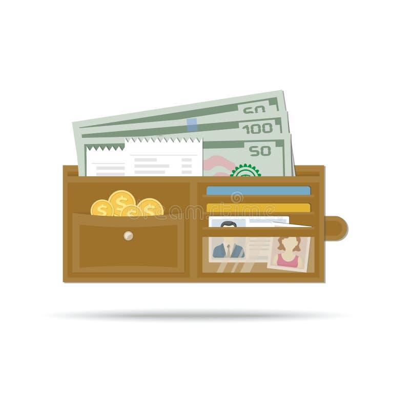Icône de bourse Portefeuille en cuir ouvert d'hommes avec l'argent, pièces d'or, contrôles, cartes de crédit illustration stock