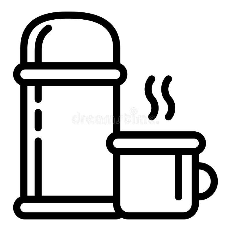 Ic?ne de bouteille de thermos, style d'ensemble illustration libre de droits