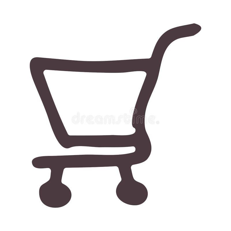 icône de caddie de supermarché de dessin de main illustration de vecteur