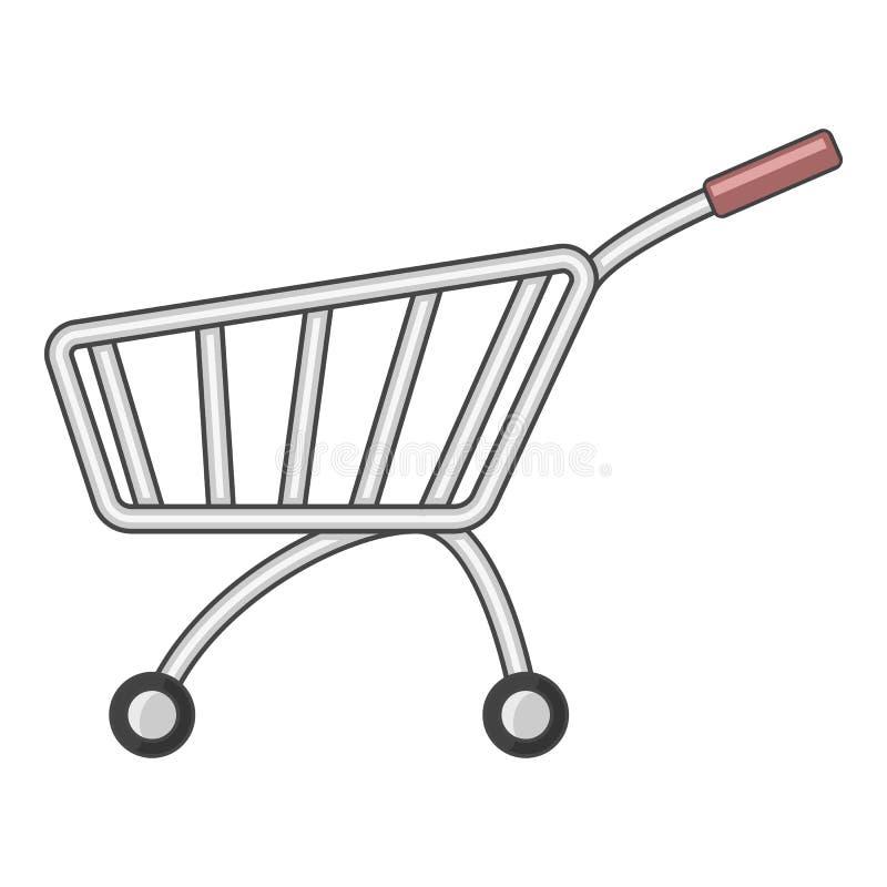 Icône de caddie du marché, style de bande dessinée illustration libre de droits