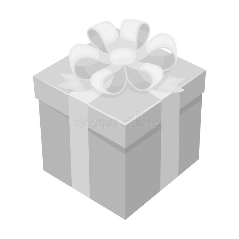 Icône de cadeau dans le style monochrome d'isolement sur le fond blanc Illustration de vecteur d'actions de symbole de charité et illustration libre de droits