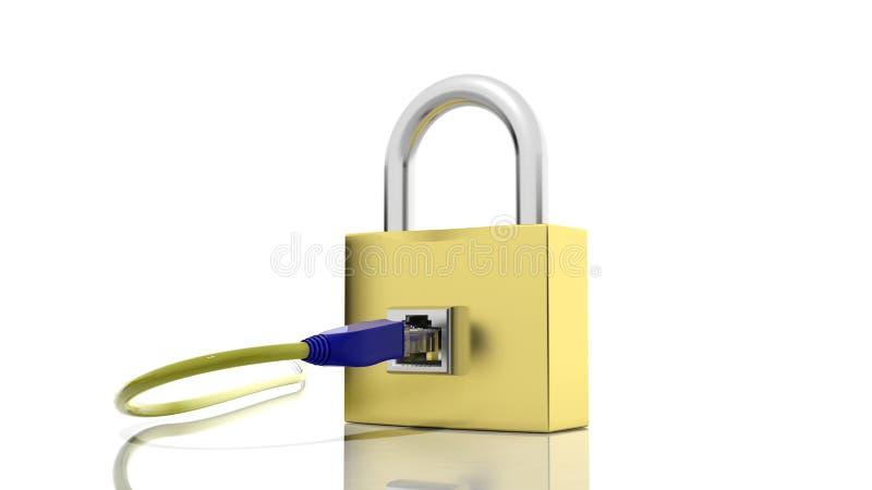 Icône de cadenas d'or avec l'accès d'Internet illustration libre de droits