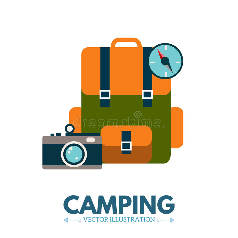 Icône de camping de sac à dos illustration libre de droits