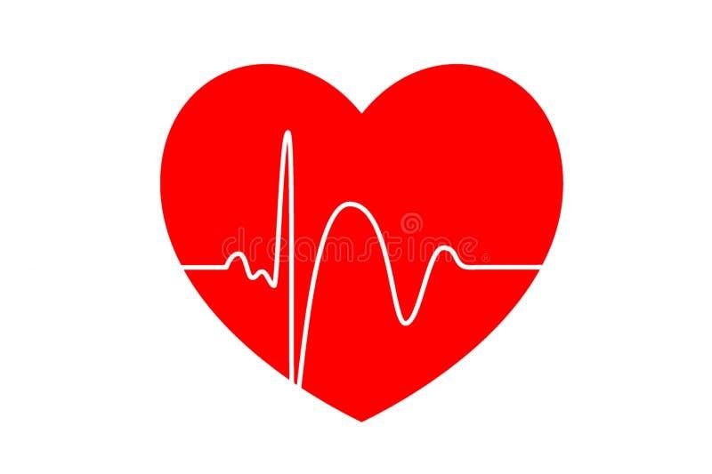 Ic?ne de cardiogramme de coeur sur le fond blanc Style de concept illustration stock