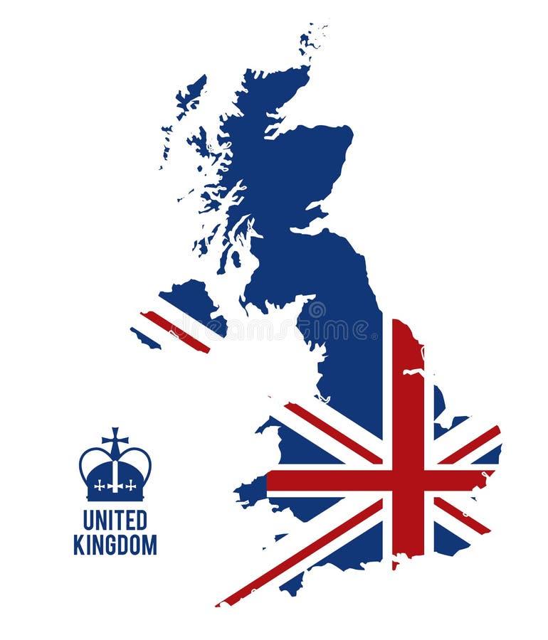 Icône De Carte Et De Drapeau Conception Du Royaume-Uni ...