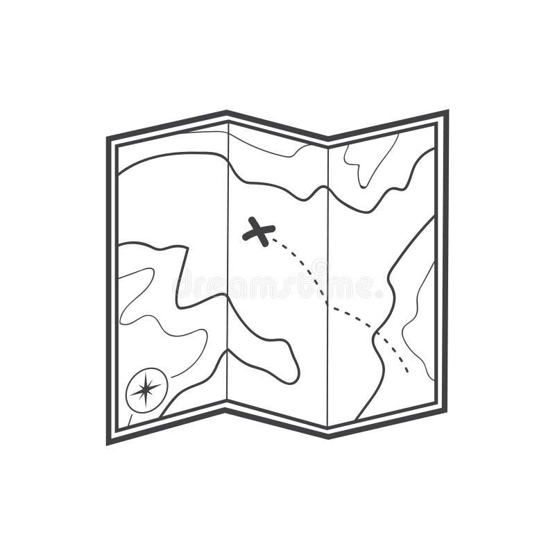 Icône de carte Icône de carte de trésor illustration stock