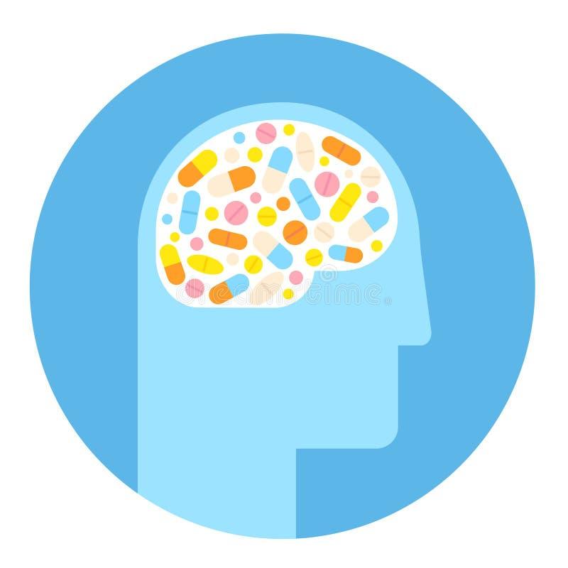 Icône de cerveau et de drogues illustration libre de droits