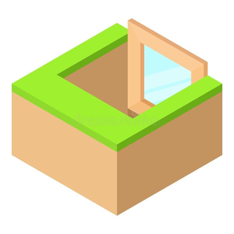 Icône de châssis de fenêtre de sous-sol, style 3d isométrique illustration libre de droits